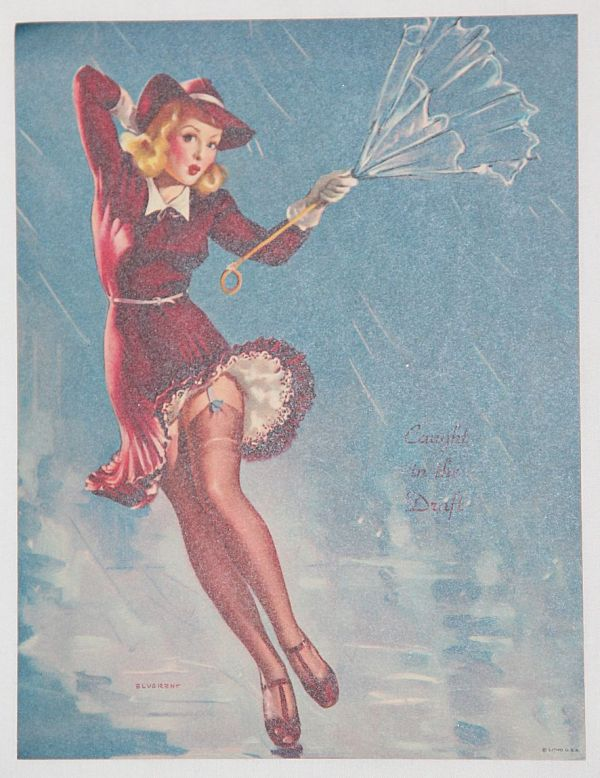 "J028. WWII PIN-UP LITHOGRAPH ART ""CAUGHT IN THE DRAFT"""