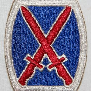 G072. WWII 10TH DIVISION PATCH WITH NEAR TOTAL WHITE BACK