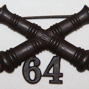 A021. 1903 ERA 64TH COAST ARTILLERY CORPS COLLAR INSIGNIA