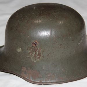 L023. WWII GERMAN TRANSITIONAL M18 HELMET WITH GOOD LINER