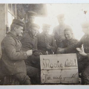 B123. WWI REAL PICTURE POSTCARD OF GERMAN SOLDIERS AT MONTE CARLO GAME