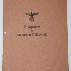 R044. WWII GERMAN VOLKSSCHULE REPORT CARD BOOKLET