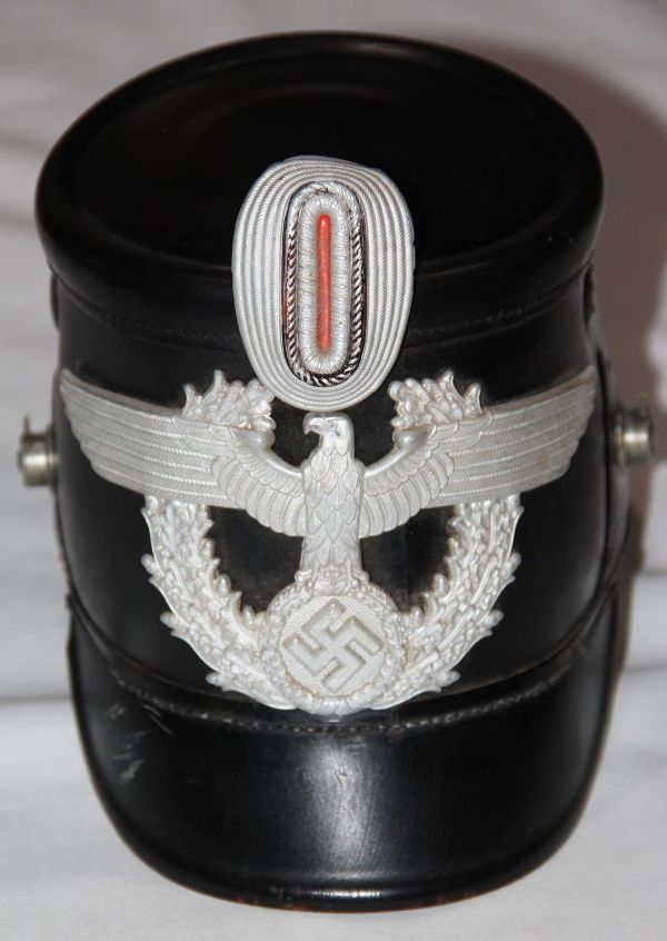L029. PRE WWII GERMAN BLACK LEATHER POLICE NCO SHAKO
