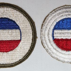 G115. WWII OD BORDER GREENBACK AND RIBBED WEAVE GHQ RESERVE PATCHES