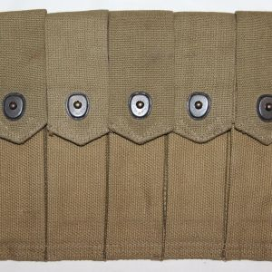 E127. WWII 1942 DATED THOMPSON SMG FIVE CELL CLIP POUCH