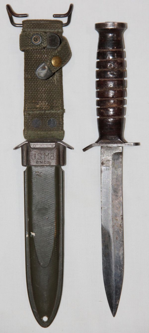 F026. WWII UTICA M3 FIGHTING KNIFE WITH M8 SCABBARD