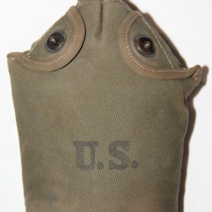 E145. VARIATION WWII CANTEEN COVER WITH CANTEEN AND CUP