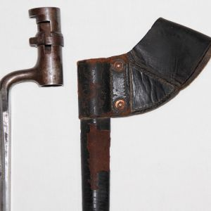 A031. CIVIL WAR MODEL 1855 SPRINGFIELD BAYONET AND LEATHER SCABBARD