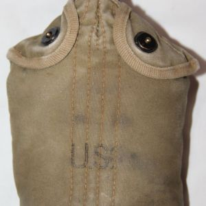 E151. WWII BRITISH MADE CANTEEN COVER WITH CANTEEN AND CUP