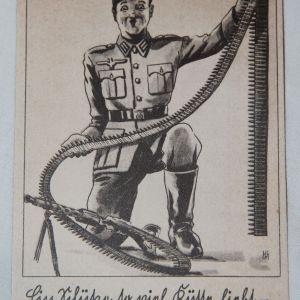 R056. WWII GERMAN COMIC POSTCARD WITH MACHINE GUN