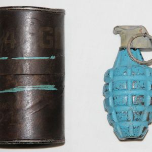 E161. INERT WWII M21 PRACTICE GRENADE WITH TRANSIT CONTAINER