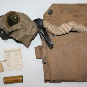 B156. NAMED WWI FULLY PLIABLE GAS MASK WITH BAG