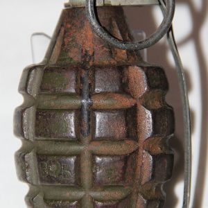 E200. INERT WWII MKII TNT GRENADE WITH M6A4C MODIFIED M200A1 FUSE