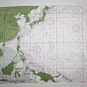 E223. WWII WIND AND CURRENT SILK ESCAPE MAP OF THE WESTERN PACIFIC