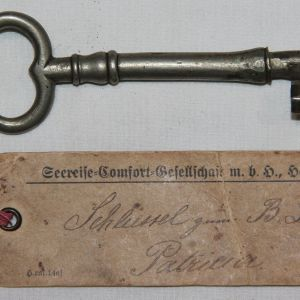 "B181. PRE WWI KEY TO ""B"" DECK OF THE GERMAN STEAMER ""PATRICIA"""