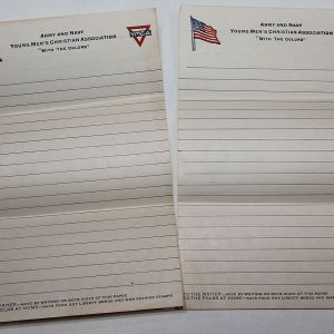 B194. 2 SHEETS OF WWI YMCA STATIONERY FOR SOLDIERS
