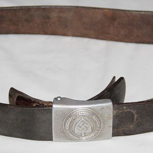 M057. WWII GERMAN 1937 DATED RAD BELT AND BUCKLE SET