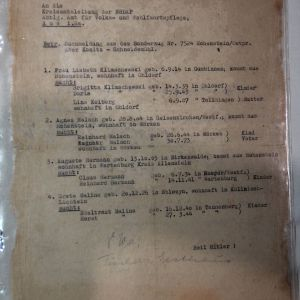R077. WWII GERMAN NSDAP LETTER ABOUT CHILDREN ON A SPECIAL TRAIN