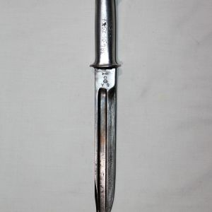 F038. NAMED WWII FIGHTING KNIFE MADE FROM 1914 BAYONET