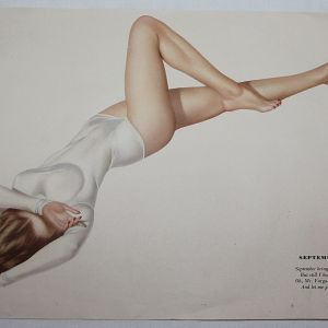 J080. WWII VARGA DUAL SIDED PIN-UP ART FROM A 1944 CALENDAR