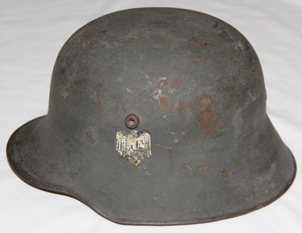 L056. WWII GERMAN TRANSITIONAL ARMY M18 HELMET WITH STACKED DECALS