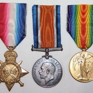B245. NAMED WWI BRITISH MEDAL GROUP