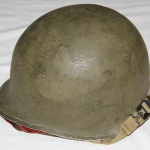 C077. NAMED WWII FIXED LOOP M1 HELMET SET