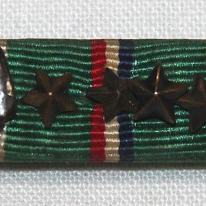 H125. WWII EAME RIBBON BAR WITH ARROWHEAD AND FOUR STARS