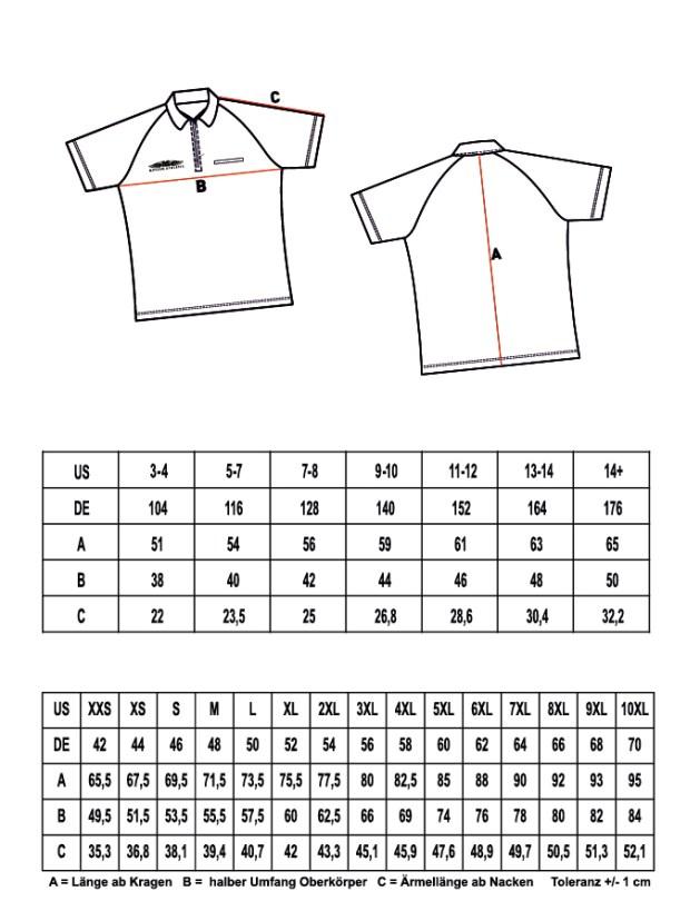 Größentabelle für Poloshirts oder Shirts mit Stehkragen