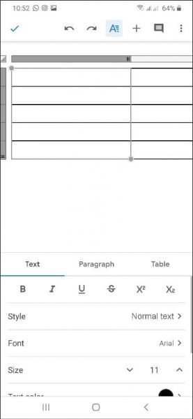 how to make a table in google docs mobile