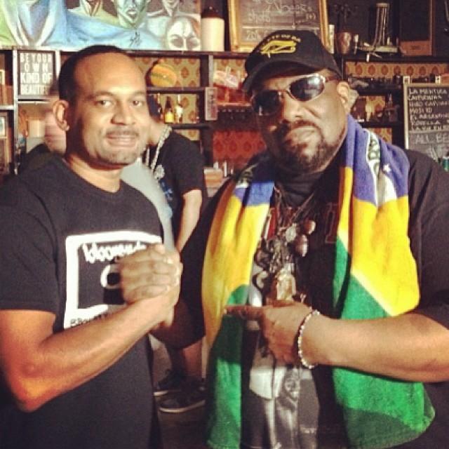 @Swaysworld of Bboysounds rocking the #cassette with the mighty Afrika Bambaataa-$12 Bboysounds Shirt @ Bboywear.com-Zulu!!!