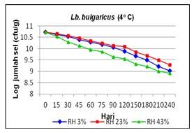 Gambar 4. Viabilitas Lb. bulgaricus selama penyimpanan 40C pada berbagai RH dan lama penyimpanan