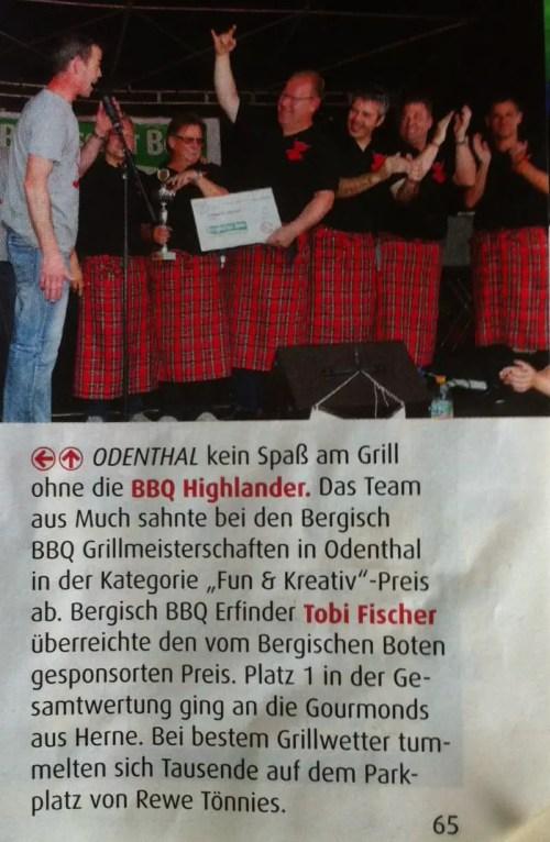 Bergisch BBQ 2013 mit den BBQ Highlander (Quellennachweis: www.bergischerbote.de)