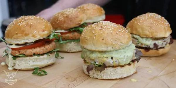 Tolle Alternative - der Lachs- und der Girlyburger!