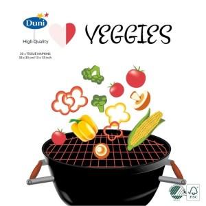 20x Bbq thema feest servetjes 33 x 33 cm I love veggies opdruk