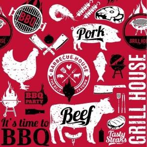 60x Bbq thema feest servetjes 33 x 33 cm dieren print rood/zwart/wit