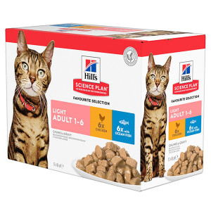Hill's Adult Light Pouch Favourite Selection kattenvoer 2 x 12 zakjes