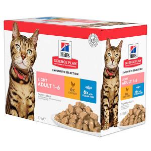 Hill's Adult Light Pouch Favourite Selection kattenvoer 3 x (12 x 85 gram)