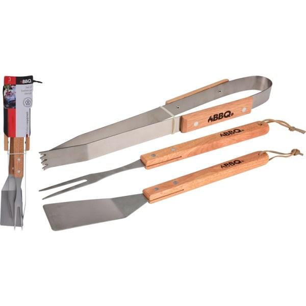 Barbecue gereedschap 3dlg met houte