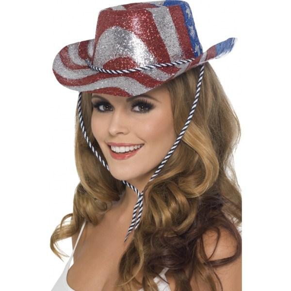Verkleed Cowboy glitterhoed USA