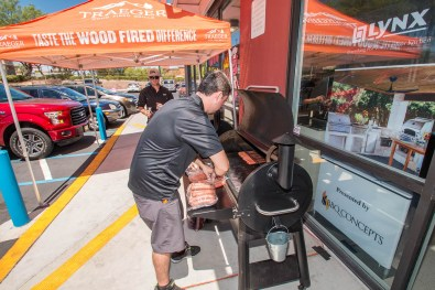 Thomas at the Traeger Wood Fire Grill Tent in Las Vegas, Nevada - BBQ Concepts Grand Opening