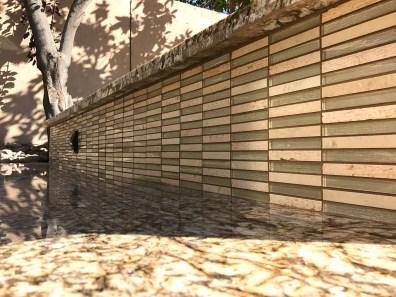 Outdoor Kitchen Close-up of Glass Tile Mosaic Backsplash