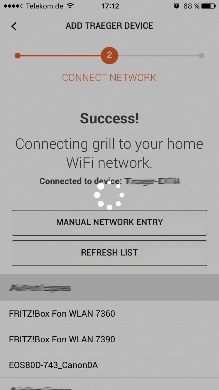 Traeger WiFIRE verbindet sich mit dem Heimnetzwerk