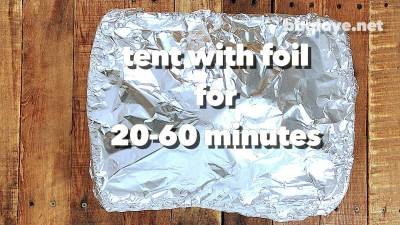 Tent the Turkey with aluminum foil for about 20-60 minutes. This will help distribute the juices through out the meat. Top Down view with wood table
