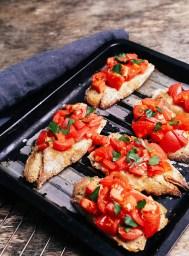 Delicious bruschetta on a pan
