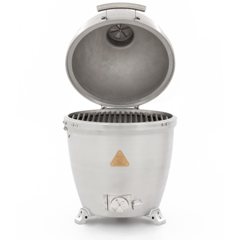 A solid cast aluminum kamado grill by Blaze with its lid open and that is 20 inches in diameter.