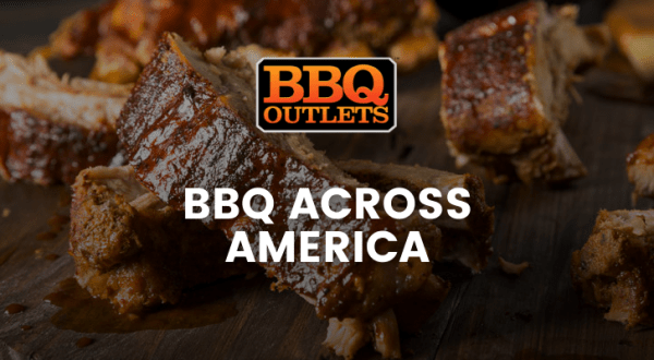 A banner with a close up image of some barbecued ribs with text over it that says, 'BBQ Across America'.