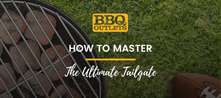 A banner that shows a close up image of a grill in a backyard with text over it that reads, 'How to Master The Ultimate Tailgate'.