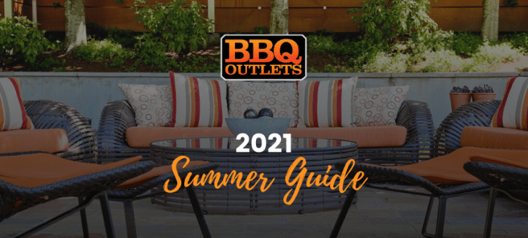 An image of a backyard patio with furniture and an outdoor fire pit and text over the image that says, '2021 Summer Guide'.