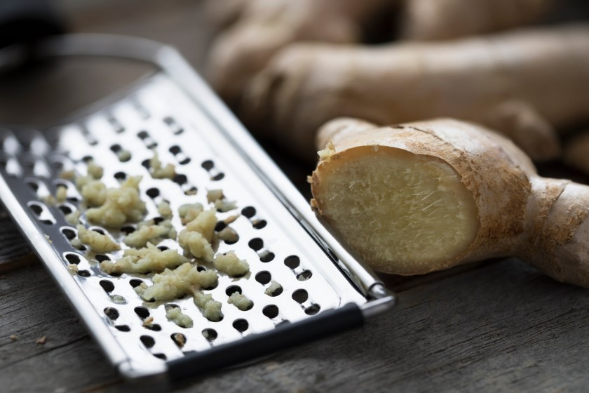 Minced ginger on grate